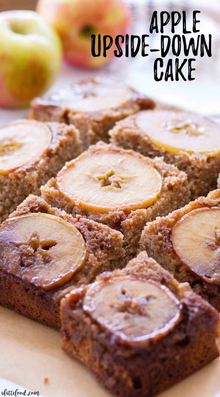caramel apple upside down cake slices