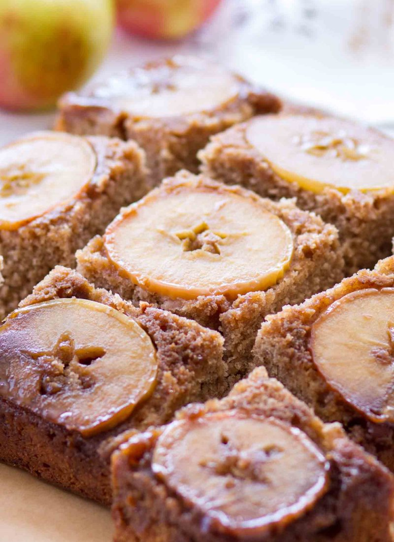 best apple upside down cake cut into slices