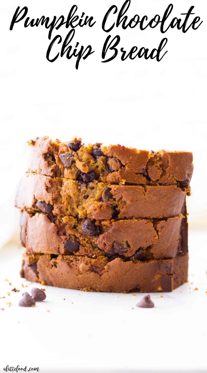 stack of chocolate chip pumpkin bread on a white cutting board