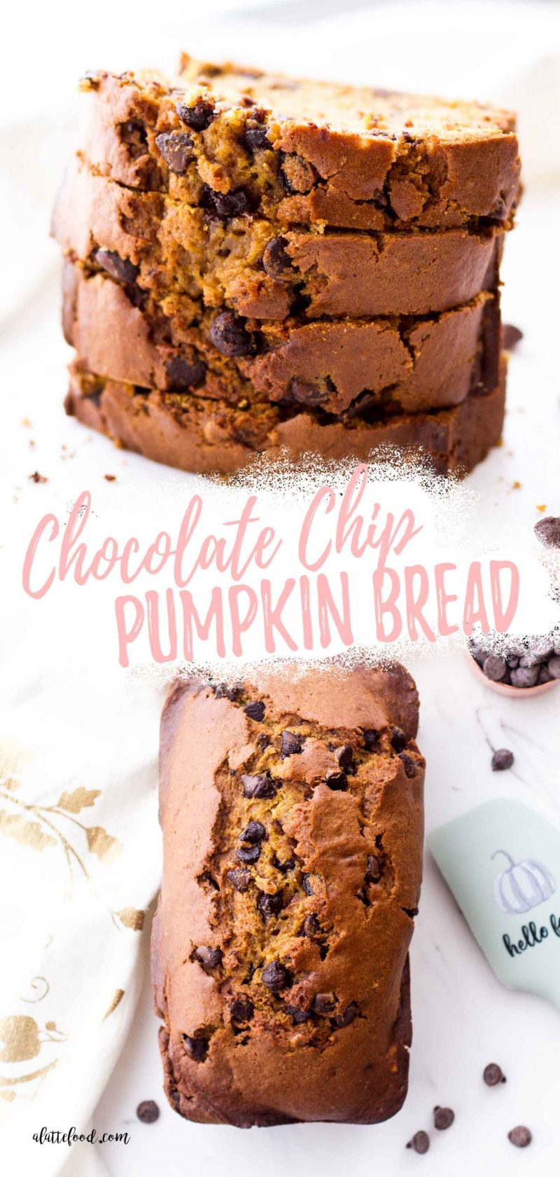pumpkin bread slices with chocolate chips (collage and text)