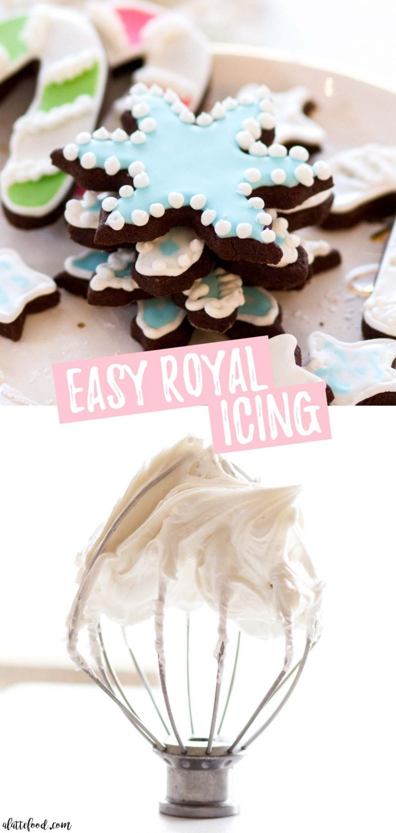 easy royal icing on chocolate sugar cookies collage