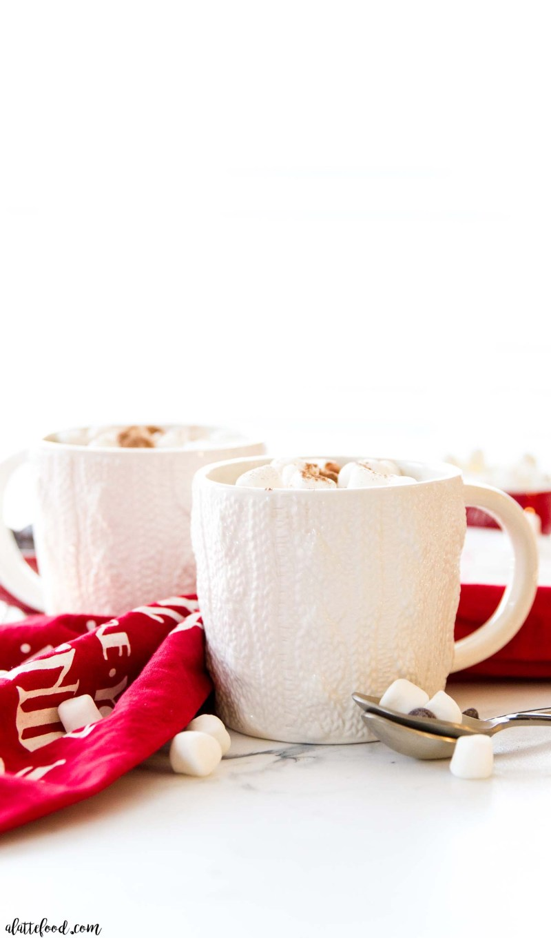 easy hot chocolate recipe poured into cups