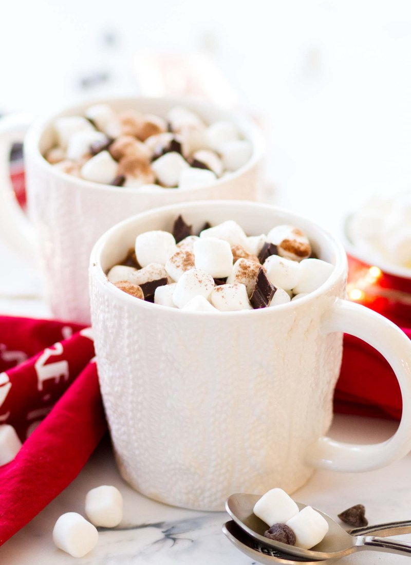 creamy homemade hot chocolate with marshmallows in a white mug