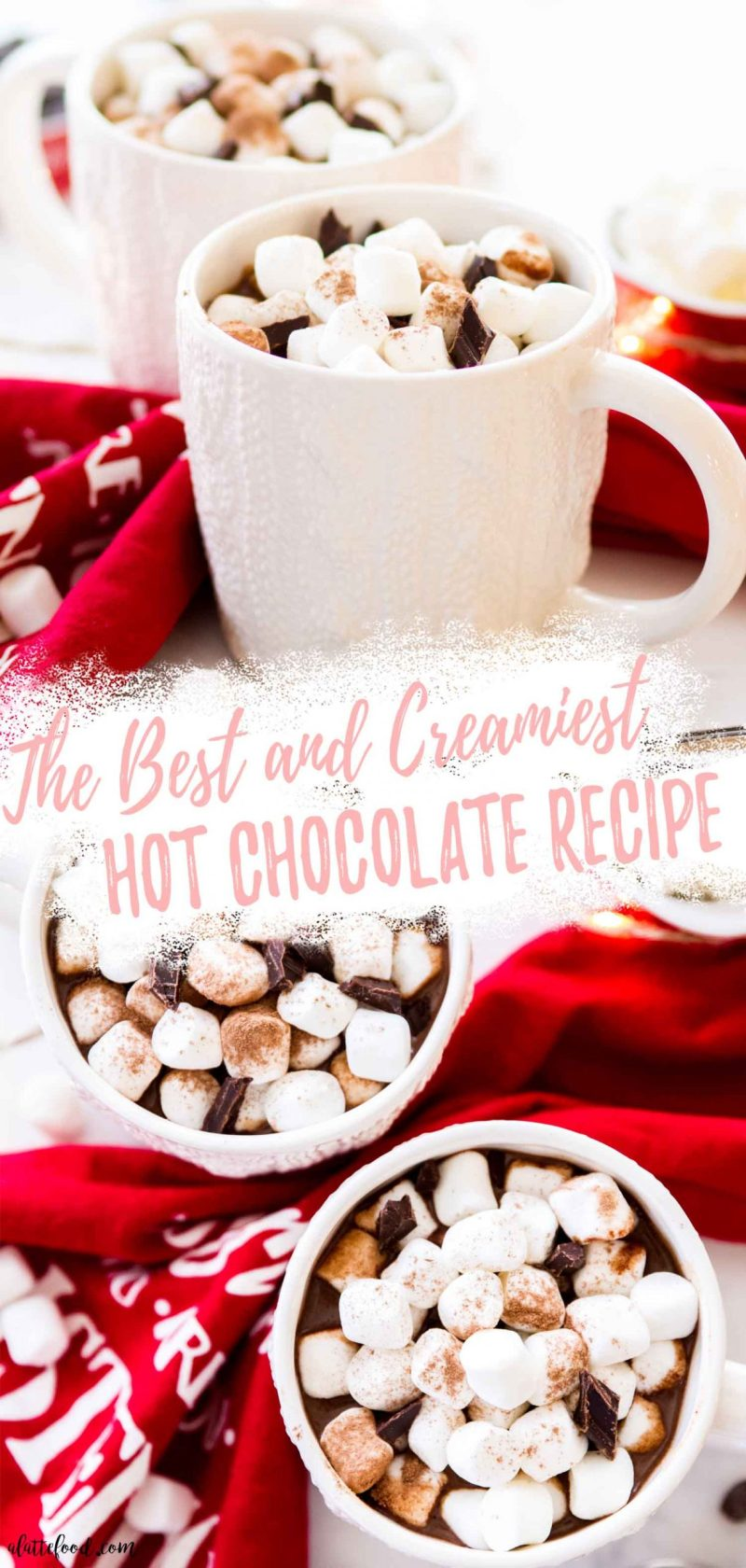 creamy hot chocolate recipe in white sweater mugs collage with text
