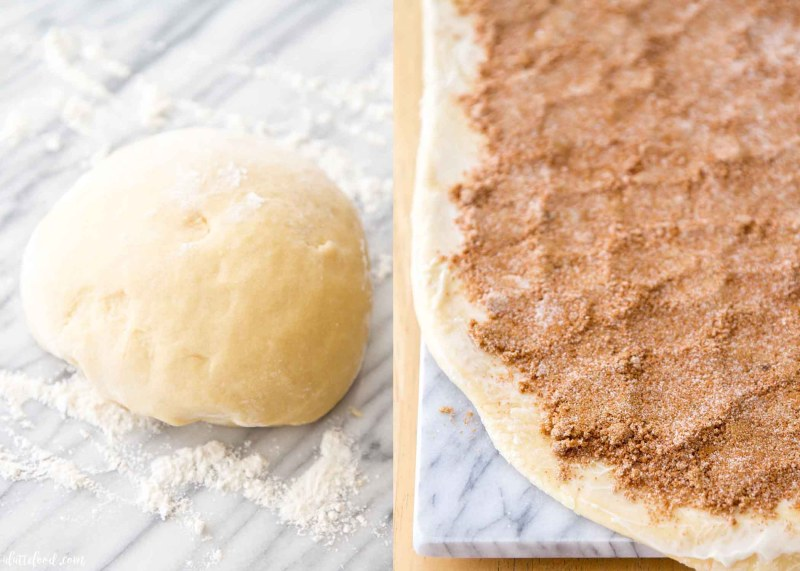 cinnamon roll dough and filling