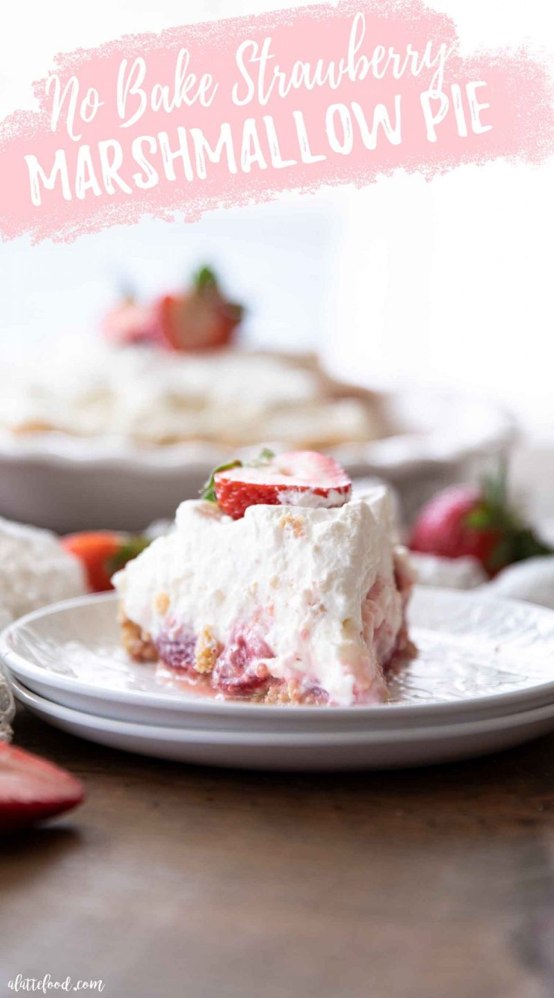 No bake strawberry and marshmallow pie slice