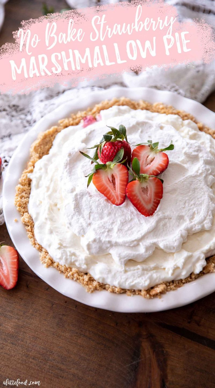 Creamy strawberry no bake pie in white pie plate