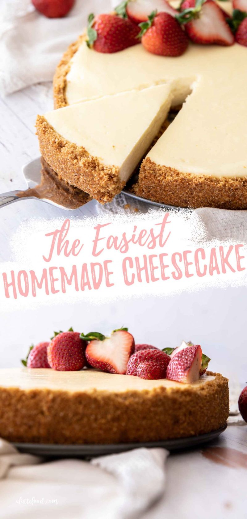 cheesecake collage with fresh strawberries
