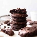 stack of double chocolate fudge cookies