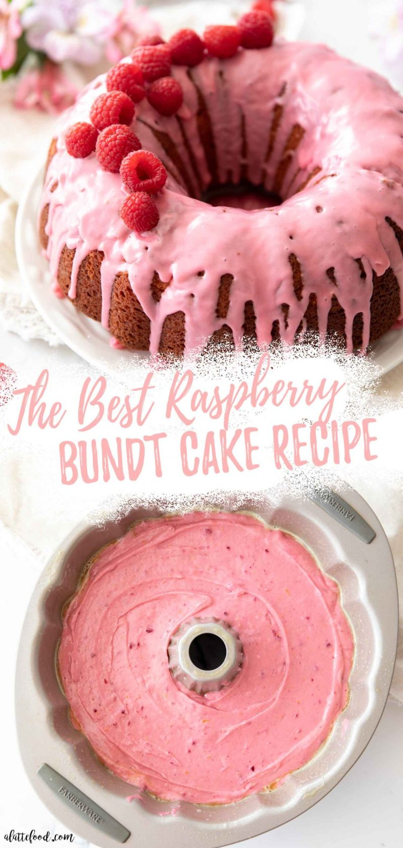 baked raspberry bundt cake with glaze and fresh raspberries and raspberry cake batter in bundt cake pan collage photo