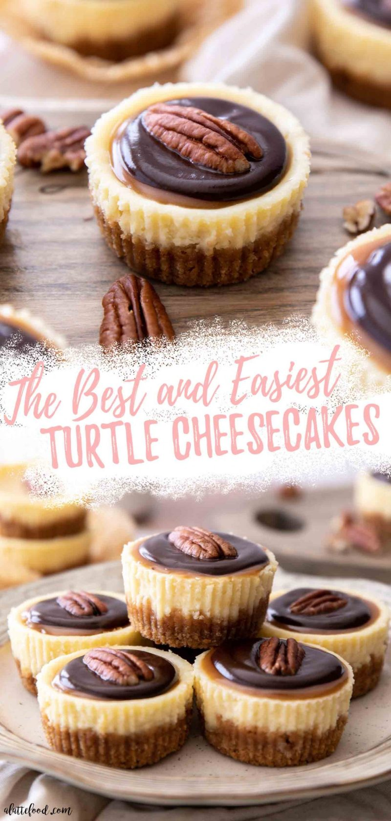Mini Turtle Cheesecakes with caramel and chocolate collage with text