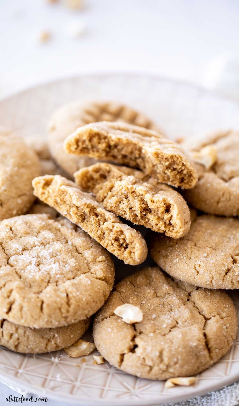 soft and chewy peanut butter cookies with sugar on top