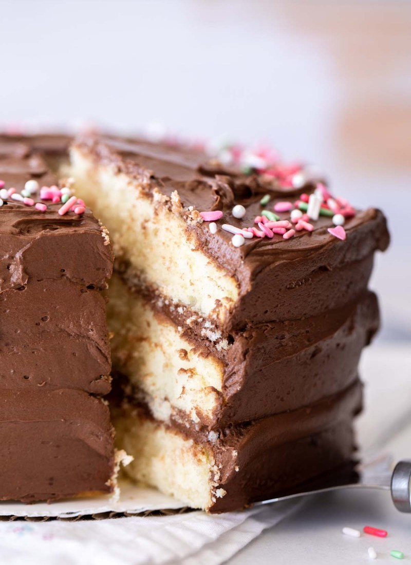 triple layer yellow cake slice with chocolate frosting and sprinkles