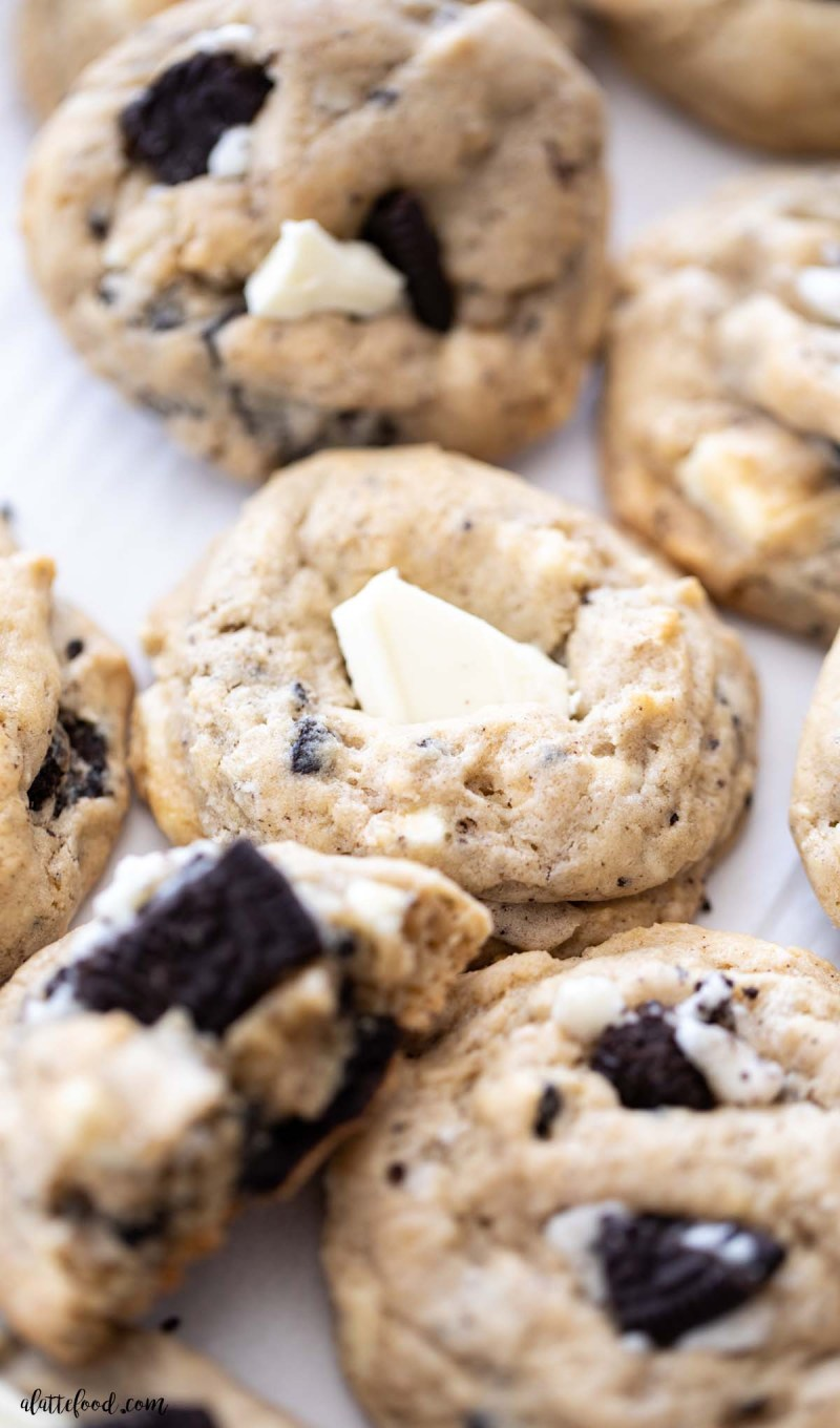 cream cheese white chocolate oreo cookie on white parchment paper