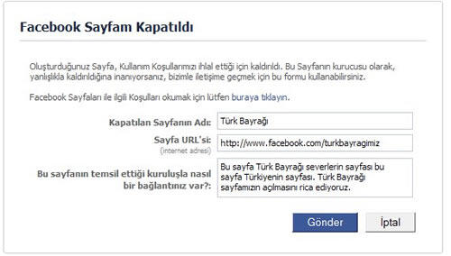 TEPKİNİ GÖSTER ! Facebook Türklerin En Büyük Sayfası Olan Türk Bayrağı Sayfasını Kapattı
