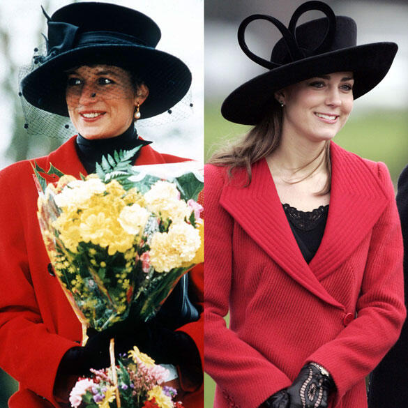 lady diana and kate middleton red coats