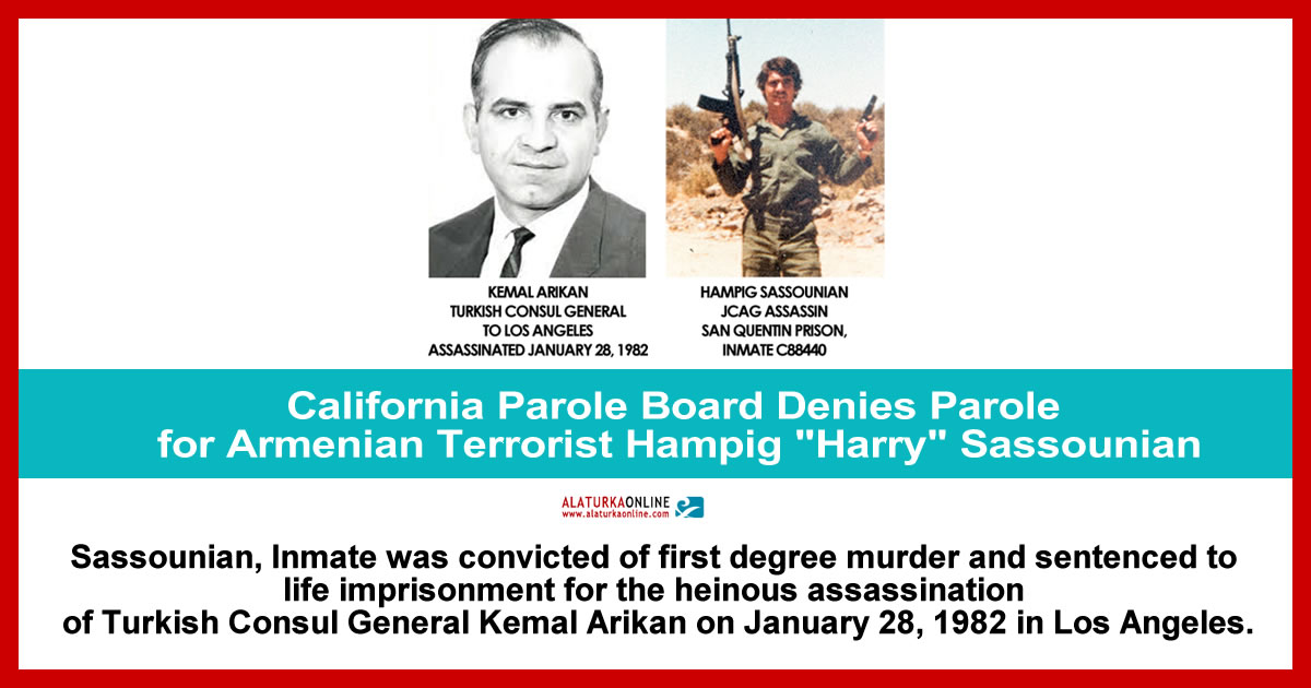 "California Parole Board Denies Parole for Armenian Terrorist Hampig ""Harry"" Sassounian"