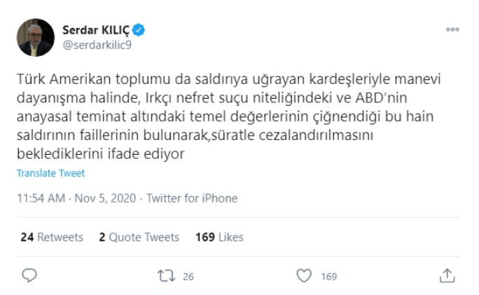 Türkiye'nin Washington Büyükelçisi Kılıç'tan Ermenilerin bir Türk'ün işlettiği kafeye saldırısına kınama