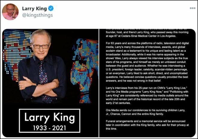 Corona tedavisi gören Larry King hayatını kaybetti