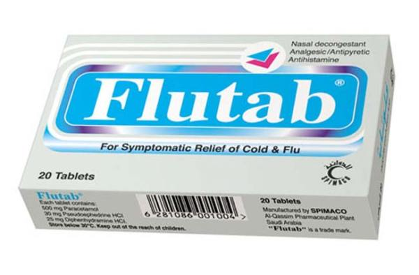 حبوب فلوتاب Flutab اقراص لعلاج الانفلونزا و مسكن الم الدورة