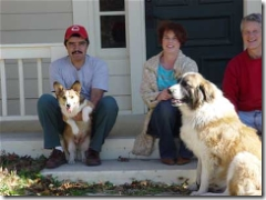 Pedro, our dogs, and us in happier times