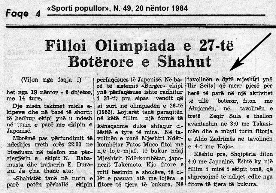 Prima partita e vittoria di Ilir Seitaj all'esordio olimpico 1984