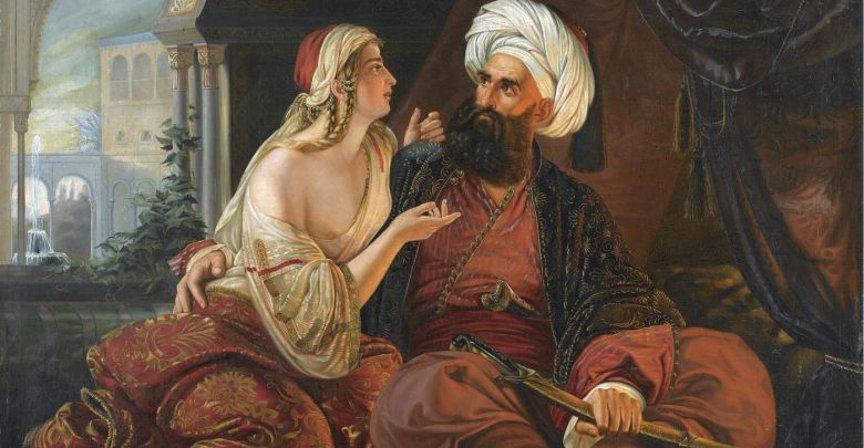 Ali Pascià e la sua Favorita, la cristiana Kyra Vassiliki - quadro di Paul Emil Jacobs.
