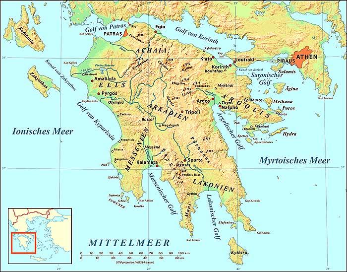 Landkarte des Peloponnes (Morea).