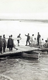 "Jäckh023: ""Turkish pioneers building a pontoon bridge over the Vardar River near Skopje"" (Photo: Louis Mosel, Skopje, ca. 1910. Courtesy of Rare Books and Manuscript Library, Columbia University, New York, 130114-0038)."