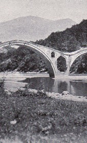 "Jäckh073: ""The Vizier's Bridge over the Drin River, constructed in the 15th century under Venetian influence"" (Photo: Ernst Jäckh, ca. 1910)."