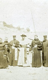 "Jäckh114: ""Albanian clergymen: Franciscans, lay priests and Jesuits at Lake Shkodra"" (Photo: Ernst Jäckh, ca. 1910. Courtesy of Rare Books and Manuscript Library, Columbia University, New York, 130114-0006)."