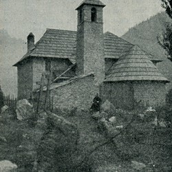 "EL1909.037: ""The church of Nrejaj"" [Theth] in the Shala Valley (Photo: Erich Liebert, 1909)."