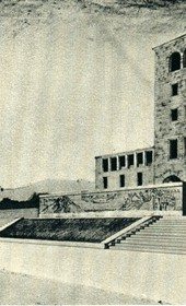 GM138: Sketch for the Casa del Fascio in Tirana, which was constructed and now houses the Polytechnic University of Tirana (Photo: Giuseppe Massani, 1940).