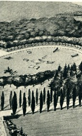 GM141: Sketch of a proposed park for the official residence of the Italian Viceroy in Tirana (Photo: Giuseppe Massani, 1940).