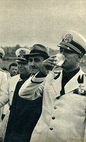GM145: Count Ciano (drinking) and Albanian Prime Minister Sheqfet Bey Vërlaci inaugurating an aqueduct in Albania in May 1940 (Photo: Giuseppe Massani, 1940).