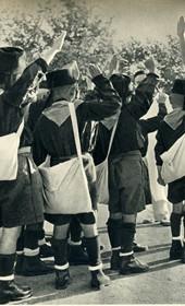 GM163: Albanian 'blackshirt' boys saluting in fascist style (Photo: Giuseppe Massani, 1940).