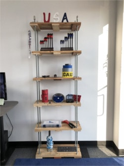 Completed And Decorated Threaded Rod Pallet Shelf