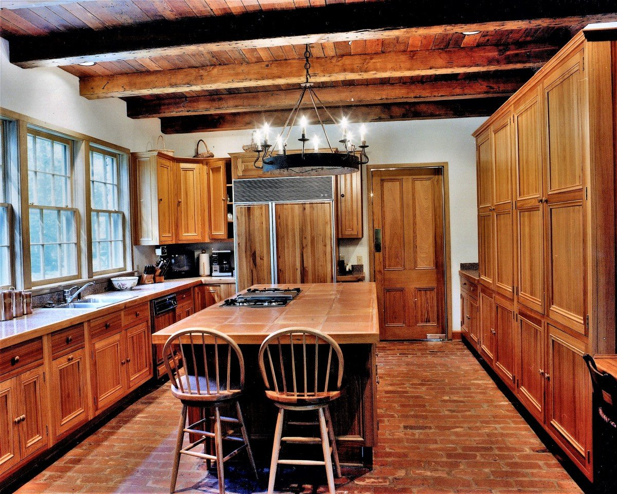 rustic-pine-beams-cypress-kitchen-cabinets-cypress-interior-doors
