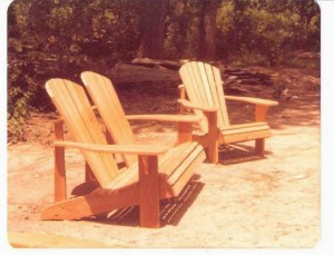 Hand crafted Cypress Adirondack chair and love seat.
