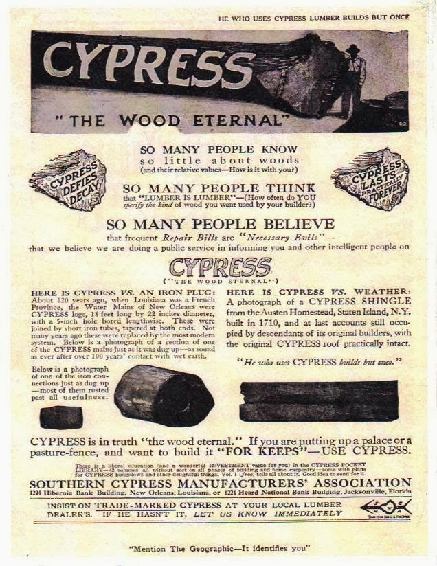 Vintage Ad Authenticates Louisiana Cypress Logs used for City Water Pipes