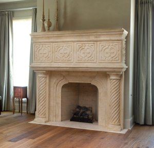 custom wood hearth mantle