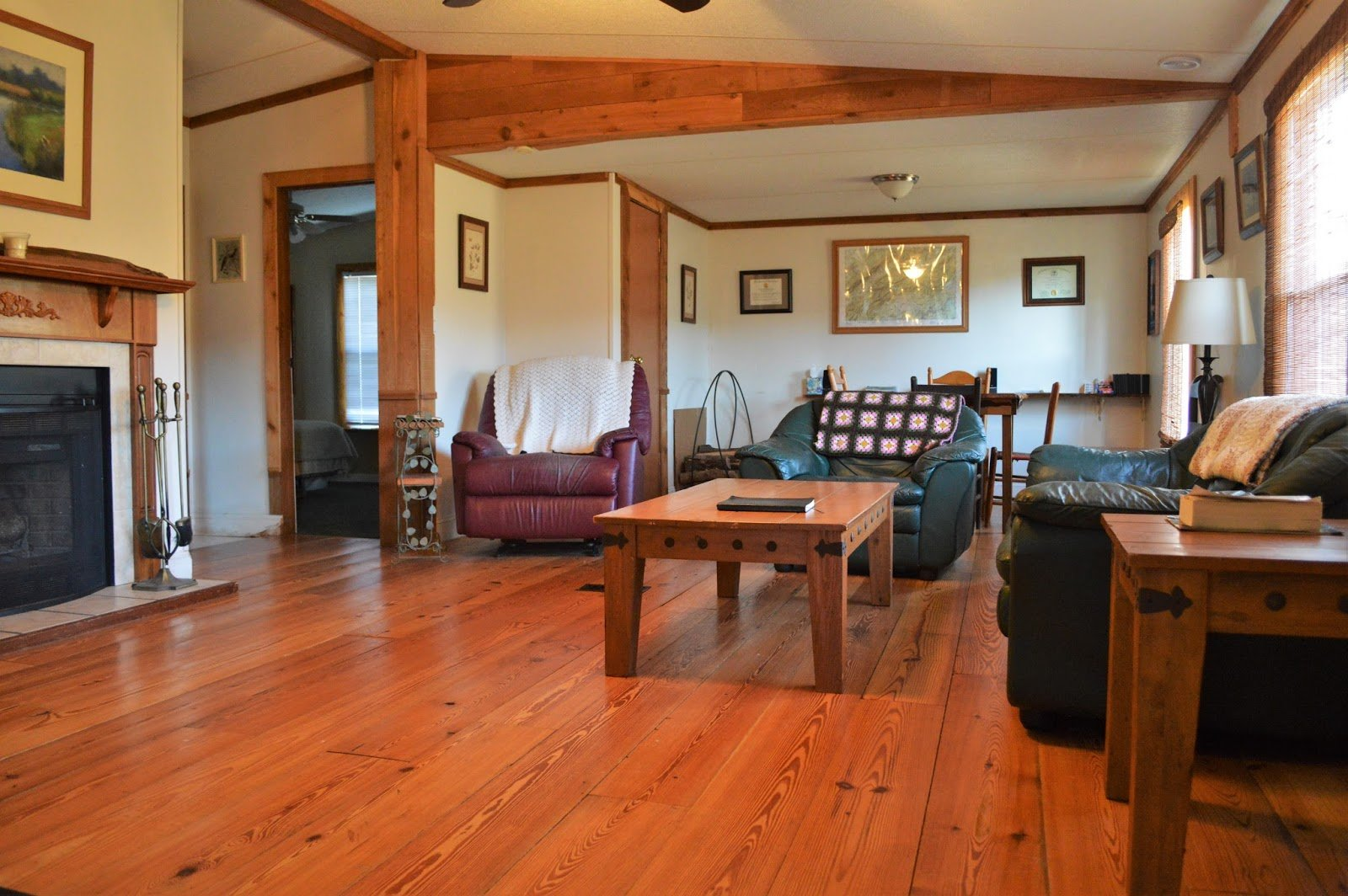 Tennessee mountain cabin reclaimed pine flooring
