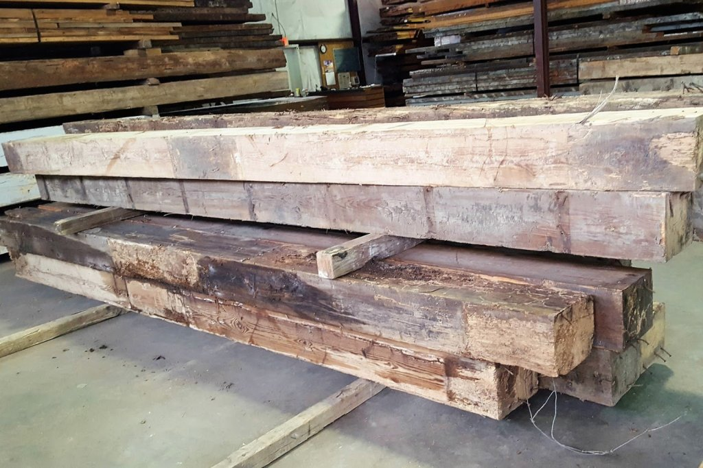 Reclaimed pine beams with a history of Blues