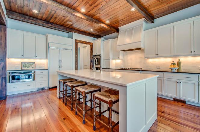 Pine beams in Kitchen Wood ceiling pine flooring