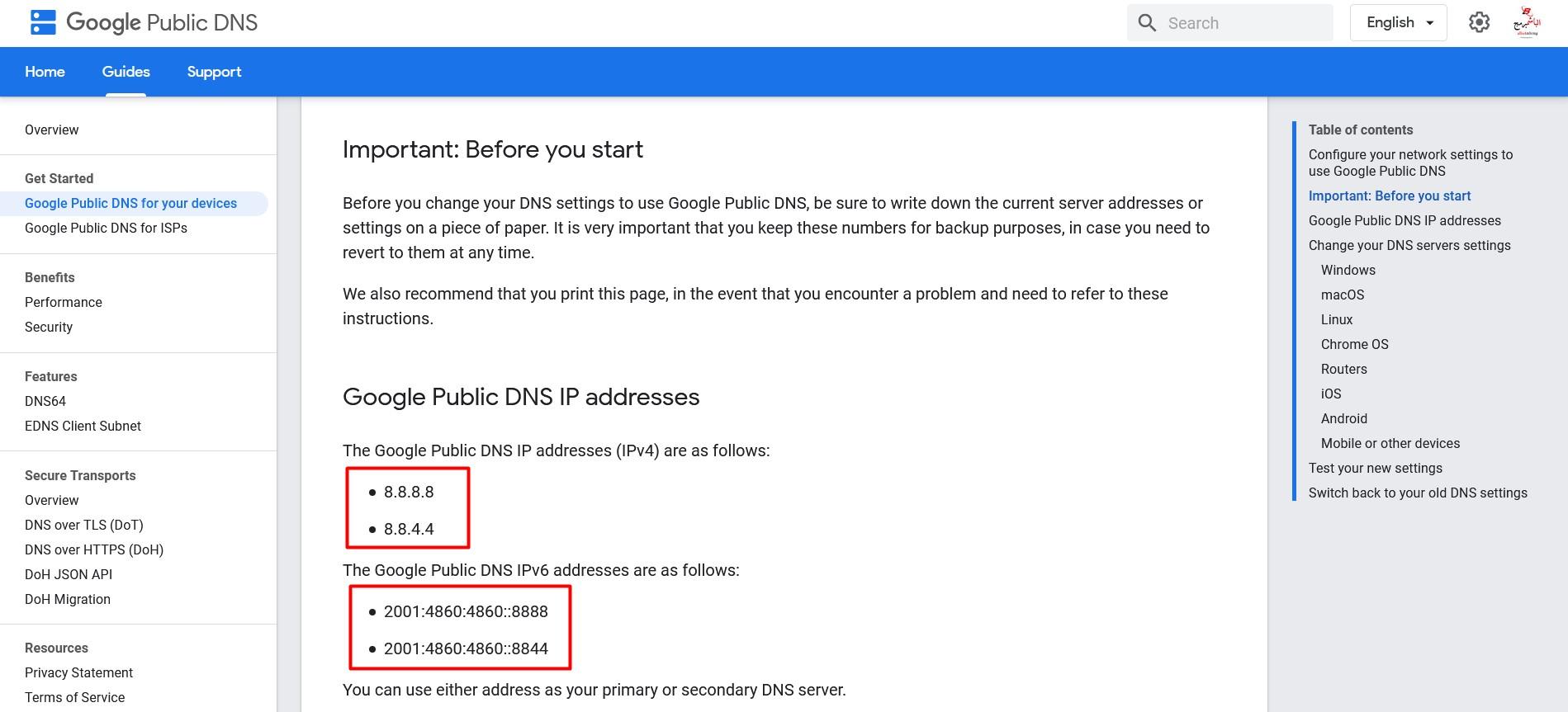 Google Public DNS IP addresses