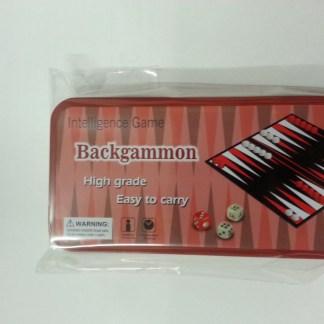 Backgammon in scatola di metallo tascabile