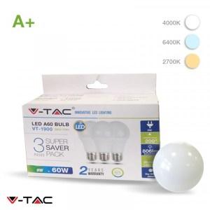 Lampadina LED E27 9W Luce Fredda 6400K Bulb A60 806lm (Conf 3 pezzi)