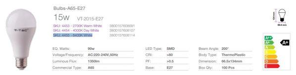 Lampadina LED E27 SMD 1350lm Bulb A65 15W (90w)