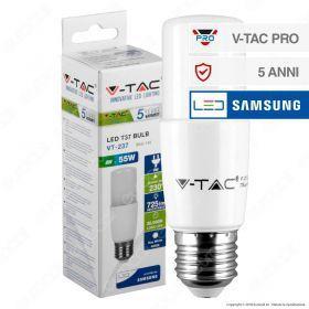 Lampadina LED E27 Chip Samsung 660lm tubolare T37 8W (50w)