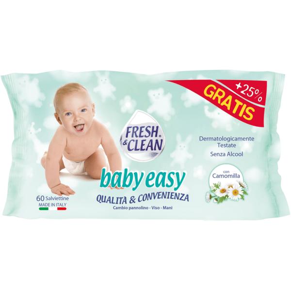 Salviette Umidificate Per Bambini Senza Alcool Fresh&Clean Baby 60pz